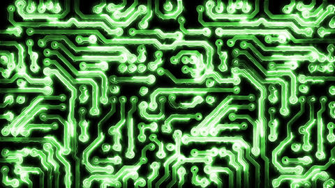 Circuit Board With Electric Signals Animation