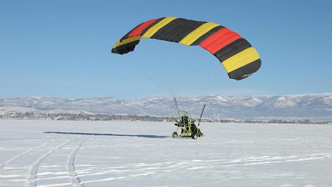 Power parachute frozen lake takeoff P HD 5840 Footage