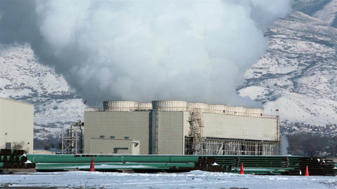 Power plant cooling steam towers winter HD 0194 ビデオ