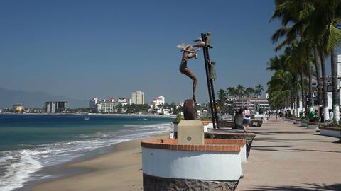 Puerto Vallarta beach sidewalk P HD 4540 Footage