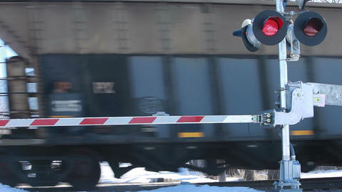 Railroad coal cars passing crossing HD 8599 Footage