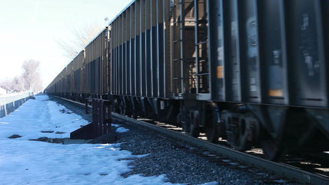 Railroad train passing winter HD 8598 Stock Video Footage