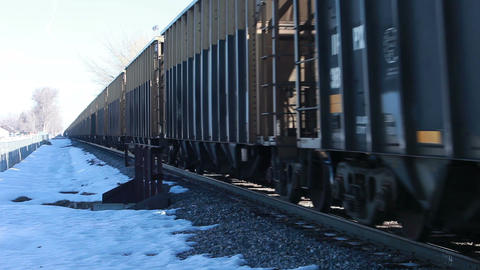 Railroad train passing winter HD 8598 Live Action