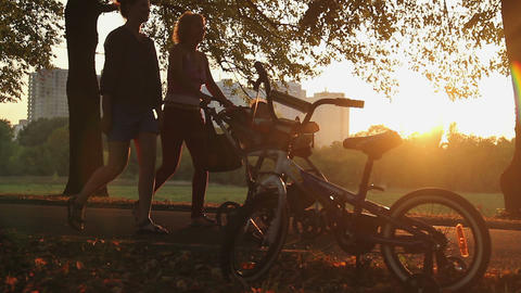 Women walking in park with baby in stroller, children's bike in sunset rays Footage