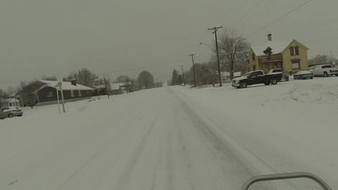 Riding ATV rural town snow storm icy roads POV HD 0225 Footage