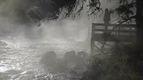 River lookout man in mist P HD 2544 Footage