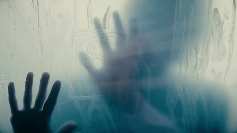 Victims trying to escape from serial maniac, human silhouettes in isolation Live Action