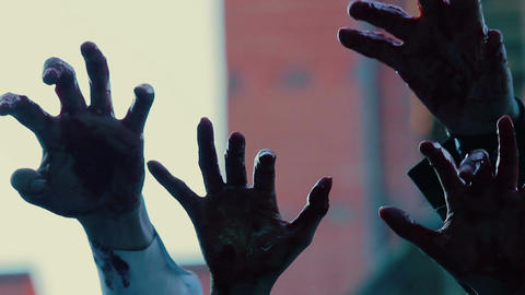 Hands of evil creatures making scary gestures in air,... Stock Video Footage