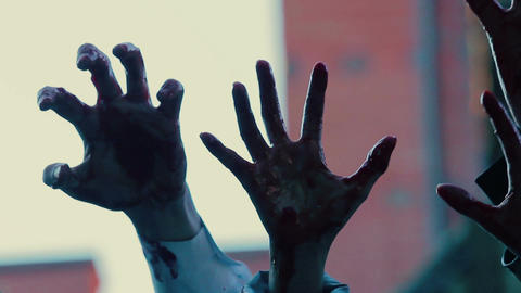 Hands of evil creatures making scary gestures in air, frightful horror film Footage