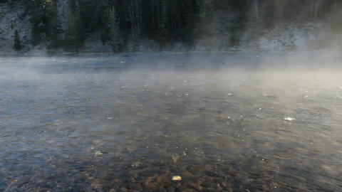 River with steam and fog pan P HD 2533 Footage