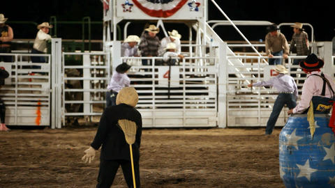 Rodeo clown bull ride P HD 1003 Footage