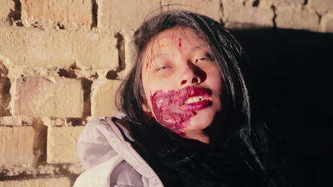 Young female possessed by demon, ritual of expelling evil spirit, exorcism Footage