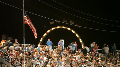 Rodeo crowd USA flag P HD 1146 Footage