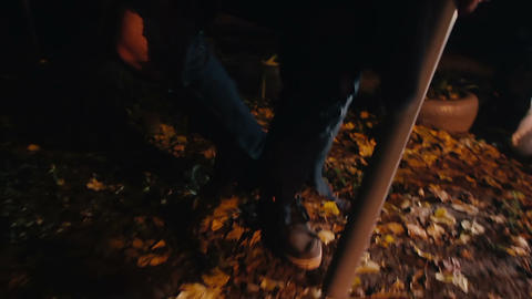 POV of victim escaping from crazy maniac in dark forest, serial killer with bat Live Action