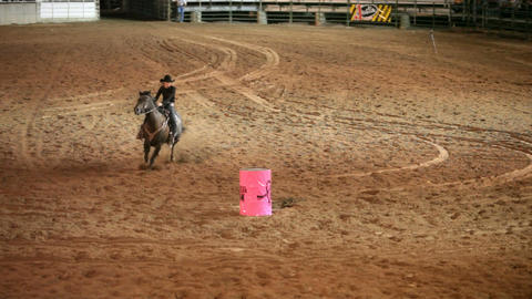 Rodeo woman barrel racing slow P HD 1137 Stock Video Footage