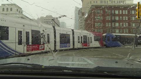 Salt Lake City Trax public transportation winter snow POV HD 0216 Footage