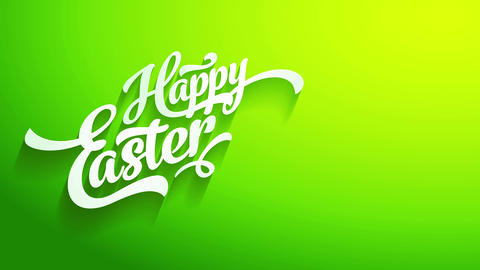 cheerful easter greeting cardboard front with white 3d handwriting forming shadows on green croma Animation