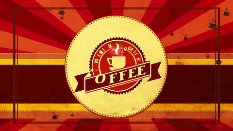 zigzag border oval icon for fancy quality coffee product trademark with classical design and sunbeam Animation