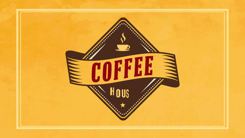 rhomboid coffee house sign with vintage element over vivid yellow background catching caffeine Animation