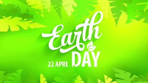 earth day greeting card with white calligraphy over green jungle design to celebrate home and create Animation