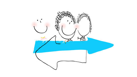 mother and daughter sitting on a big blue arrow pointing to the east suggesting they are talking Animation