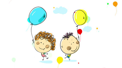 happy boy and girl playing on a birthday party jumping laughing and smiling with many multicolored Animation