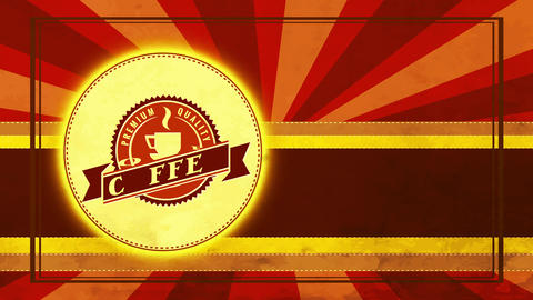 zigzag boundary circular icon for fancy quality coffee product mark with antique design and sunbeam Animation