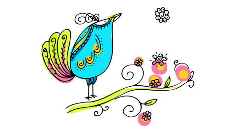 beautiful blue singing bird drawn by hand with spirals and elegant brush strokes looking at the sky Animation