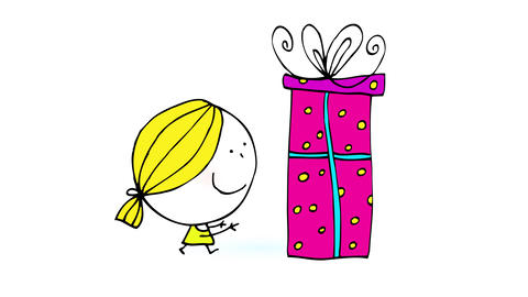 upper class girl with blond hair and cute dress running towards a huge pink gift suggesting her Animation