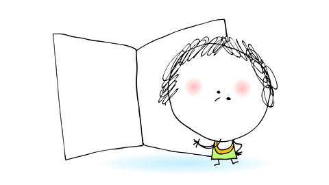 happy 5 year old girl presenting empty open book to the public suggesting she likes to read and Animation