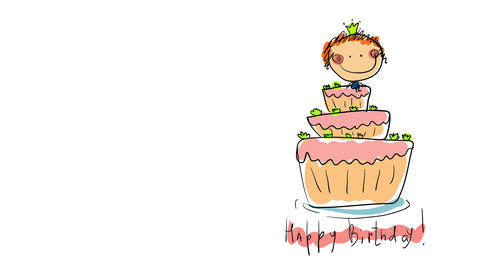 girl with happy face wearing a tiara on top of big three story cake painted outside the outlines Animation