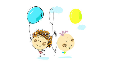 girl and boy playing with balloons of different colors on an open yard under the sky with light blue Animation