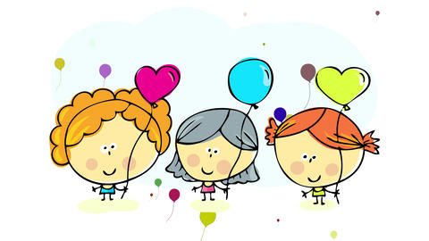young little girl friends standing together with small flickering balloons appearing and fading over Animation