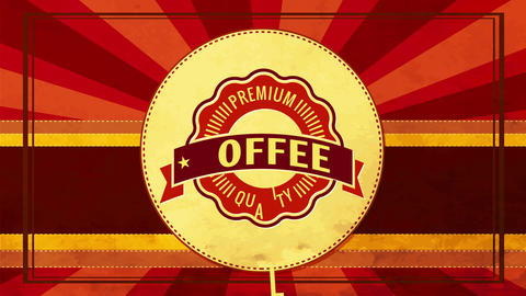 wavy edge emblem for high quality coffee or tea beverage with retro elements on 70s style sunburst Animation