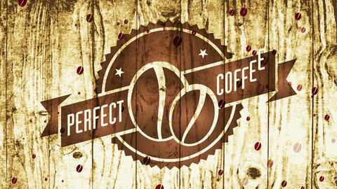 perfect coffee beans producers insignia with zig zagged frame and classical style with etching Animation