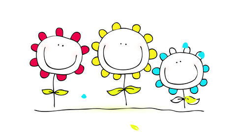 red yellow and blue flowers growing one besides the other on healthy soil smiling and happy Animation