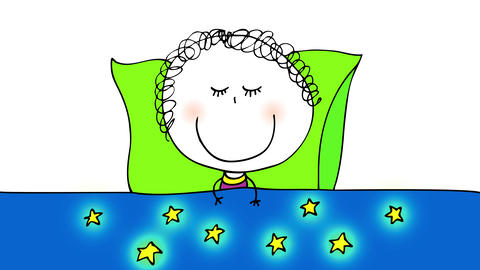 blue comforter with golden stars design covering a little happy girl sleeping on a green pillow with Animation