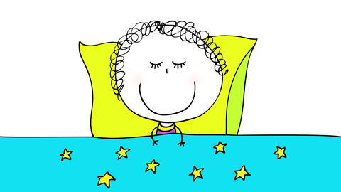 curly haired young girl wearing cute pajamas smiling while falling asleep on a comfy bed with Animation