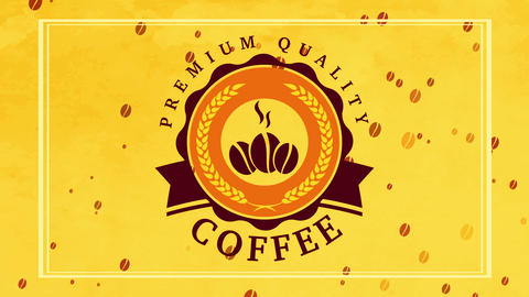 vibrant package presenting for premium quality coffee with classical round graphic over yellow Animation
