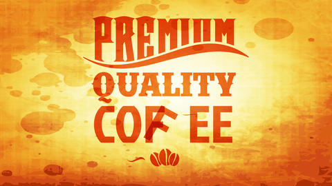 brown roasted quality coffee grains package with old fashion style typography on smudged paper Animation