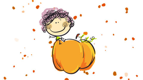 girl waving to the camera sitting and smiling on a sweet ripened pumpkin over background full of Animation