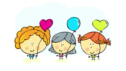 three best friends having fun at a birthday party dancing and holding balloons of different forms an Animation