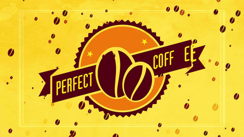 fried coffee beans visual in the center of disk badge with 50s style ribbon for cafe or diner Animation