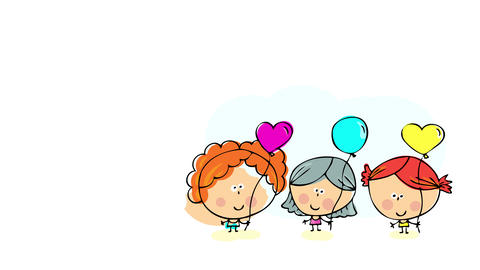 three very different girls posing for the camera holding multi colored heart shaped balloons with Animation