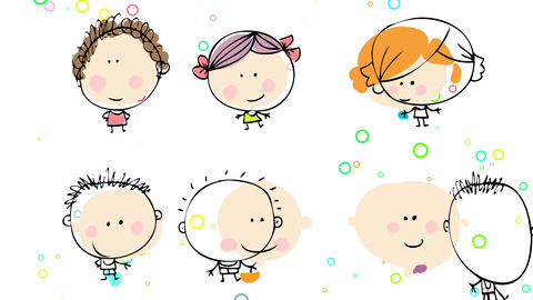 group of happy boys and girls with joyful expressions standing opposite to each other in lines on a Animation