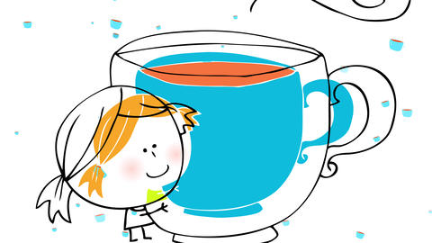 little girl with round head looking very little hugging a big blue mug with small chocolate mugs Animation