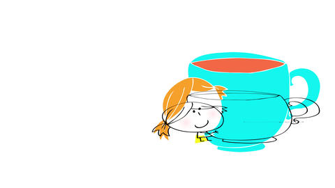 young girl with ponytails and cute face lifting a huge hot chocolate mug suggesting she will give it Animation