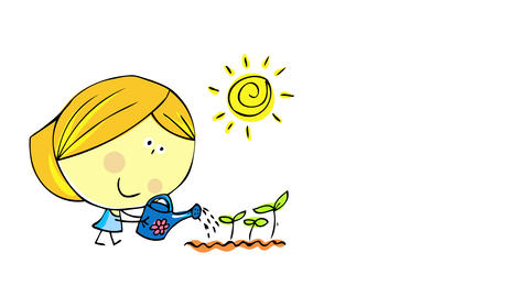spiral sun shining bright over a cute joyful woman wearing blue dress watering recently sown plants Animation