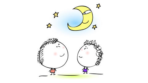 little brother and sister talking to the moon and contemplating her happy face under a starry night Animation