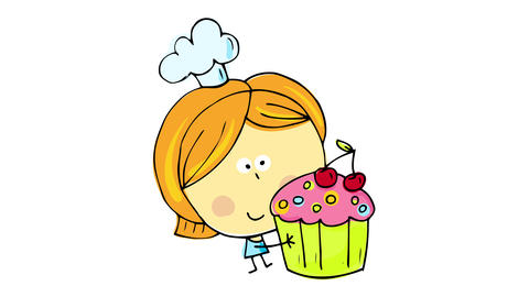 drawing of tiny happy girl posing with an appetizing cupcake forming with the colors and outline Animation